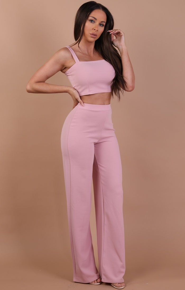 Dusky Pink Crop Top And Trousers Co-ord Set trousers Femme Luxe 6
