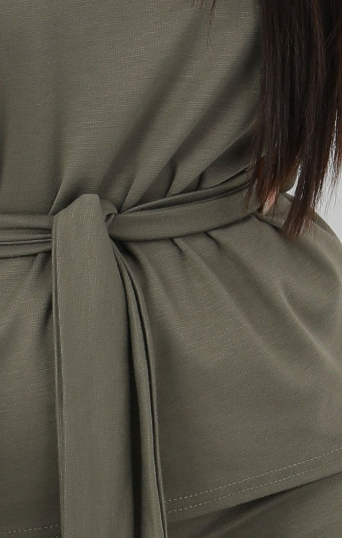 Khaki Boxy Long Sleeved Tie Loungewear Set - Leah