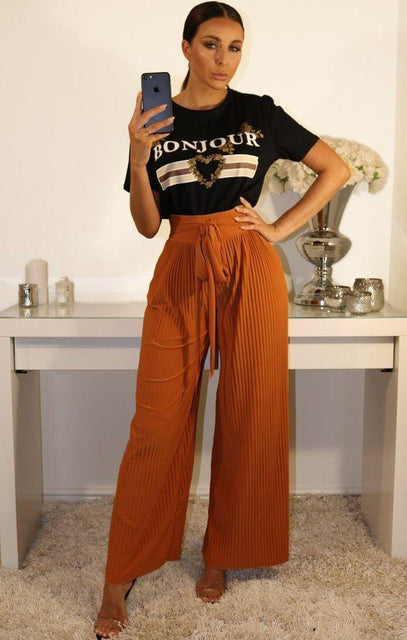Rust Pleated Wide Leg Trousers