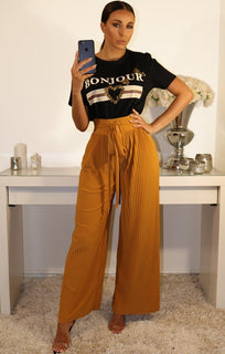 MUSTARD PLEATED WIDE LEG TROUSERS