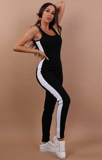 Black Side Stripe Jumpsuit - Alana