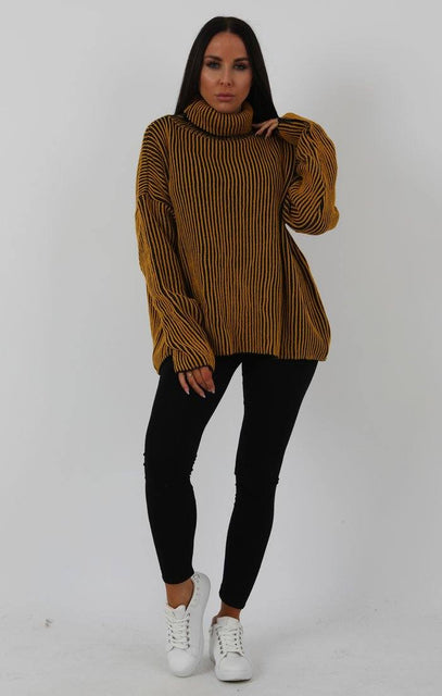 Mustard Black Ribbed Turtleneck Jumper - Charlotte