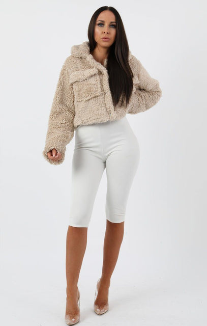 Stone Pocket Detail Crop Teddy Jacket - Olivia
