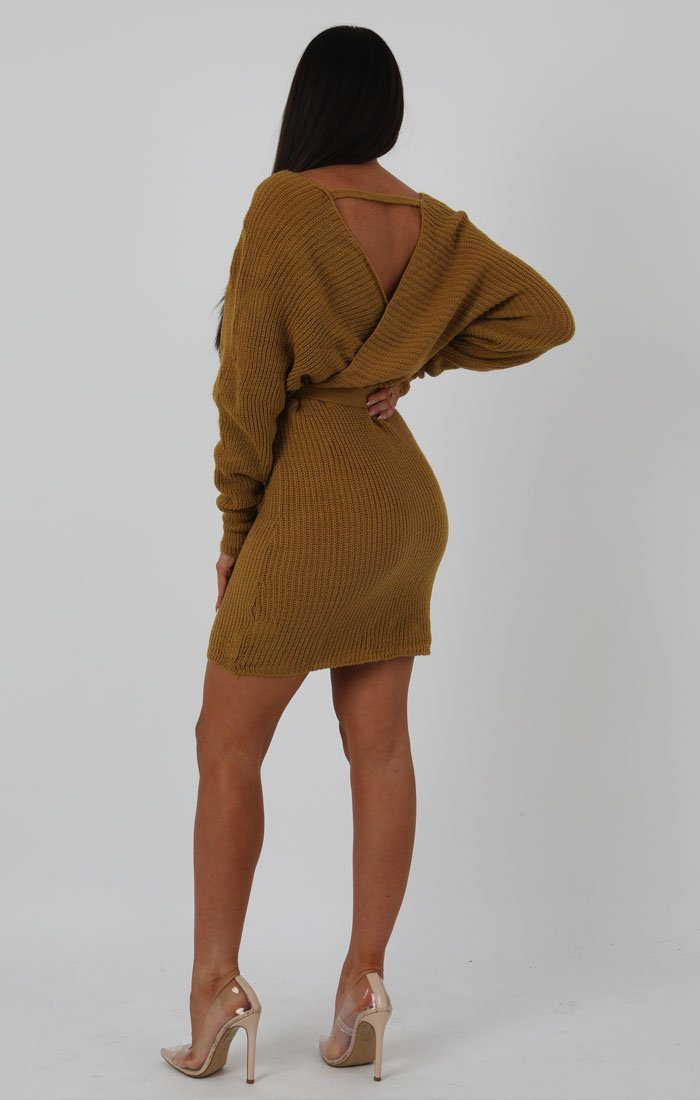 Mustard Knit Long Sleeve Tie Front Wrap Dress - Star