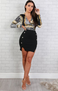Black Animal Print Shirt Bodysuit - Lucia