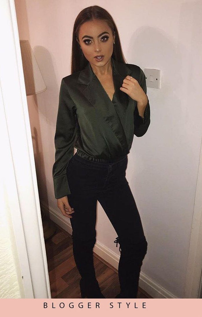 Khaki Satin Shirt Bodysuit