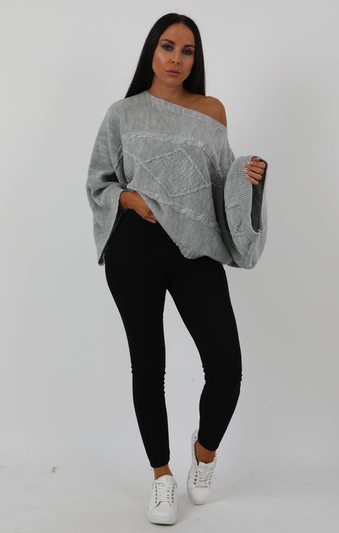Grey Bardot Cable Knit Oversized Jumper - Melanie