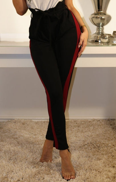 Black Wine Stripe Detail Trousers