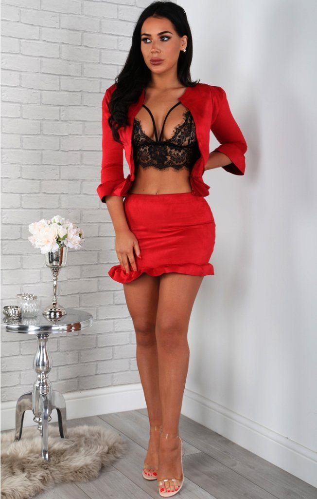 Red Suede Frill Hem Mini High Waist Skirt