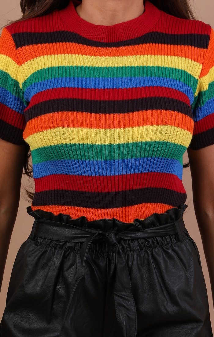 Rainbow Knitted Short Sleeve Top - Codie