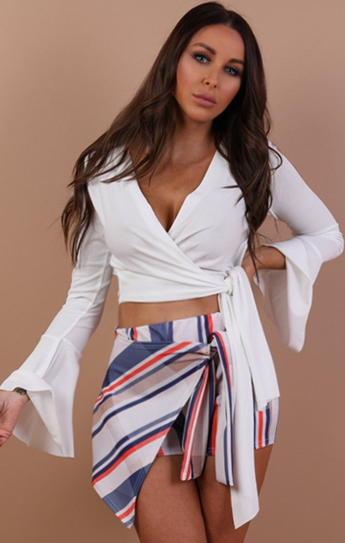 White Bell Sleeve Wrap Crop Top – Payton