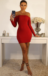 Red Bardot Frill Midi Dress - Fiona