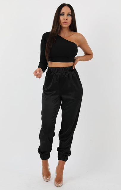Black Satin Cuff Trousers - Luna