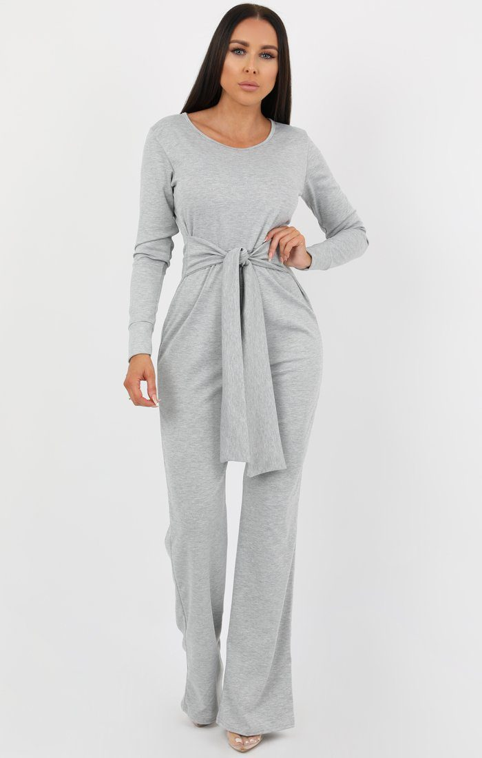 Silver Long Sleeve Flare Jumpsuit - Hariette