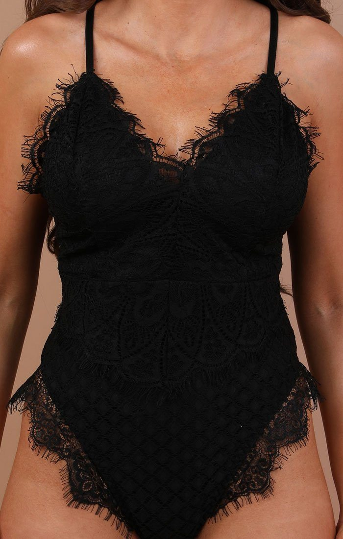 Black Lace Top Bodysuit - Harper
