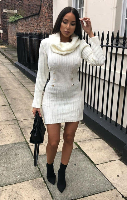 Cream Extreme Turtle Neck Knit Bodycon Dress - Amalie