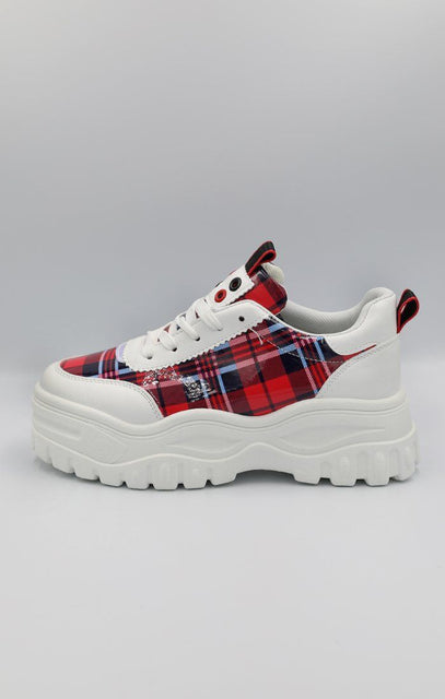 Red check Print Chunky Trainer - Jessi