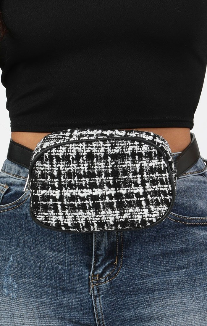 Black and White Tweed Belt Bag - Poppy