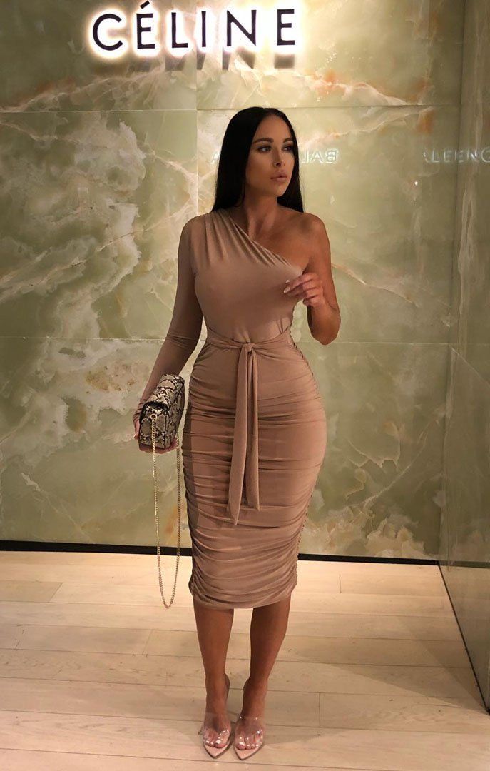 77d3a4995968 Beige One Shoulder Ruched Slinky Midi Dress - Savannah