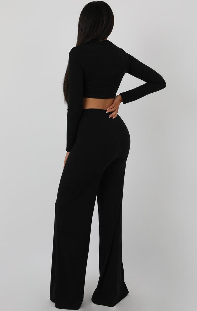 Black Knot Crop Ribbed Flare Loungewear Set - Jacie