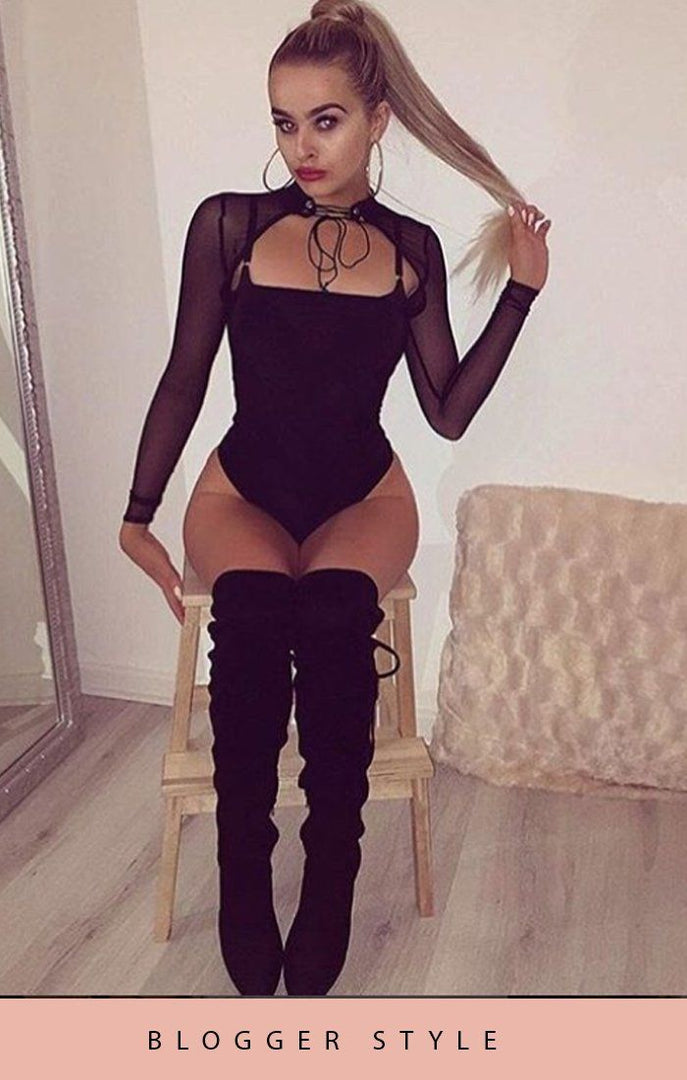 Black Cut Out Choker Neck Mesh Bodysuit