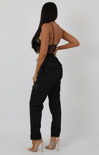 Black Shell Pocket Cargo Trousers - Christina