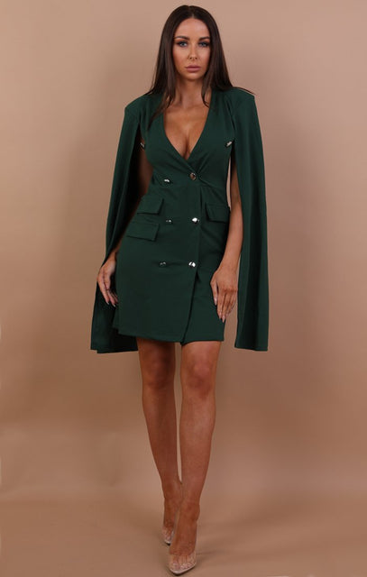 Green Split Sleeve Blazer Dress - Abby