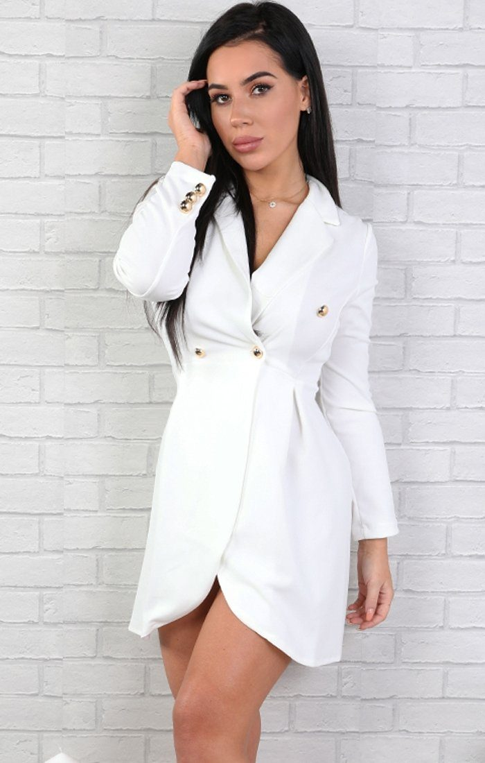White-Button-Embellished-Blazer-Dress