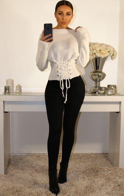 White Corset Front Knitted Jumper