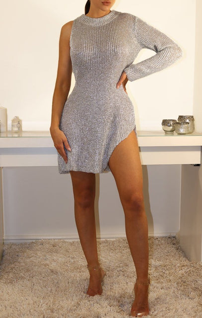 Silver Metallic One Armed Dress