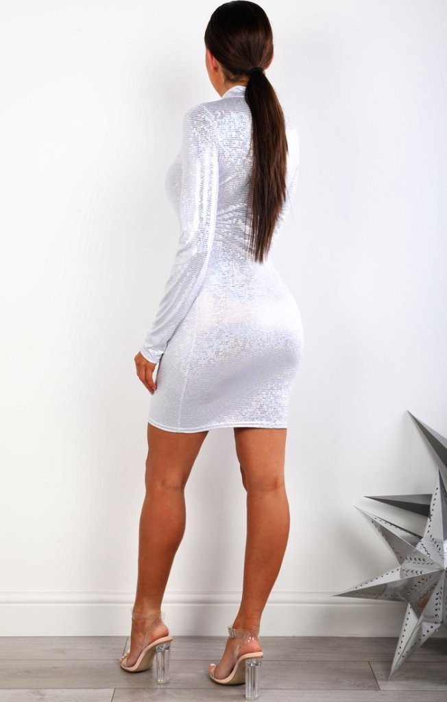 White Metallic High Neck Bodycon Dress