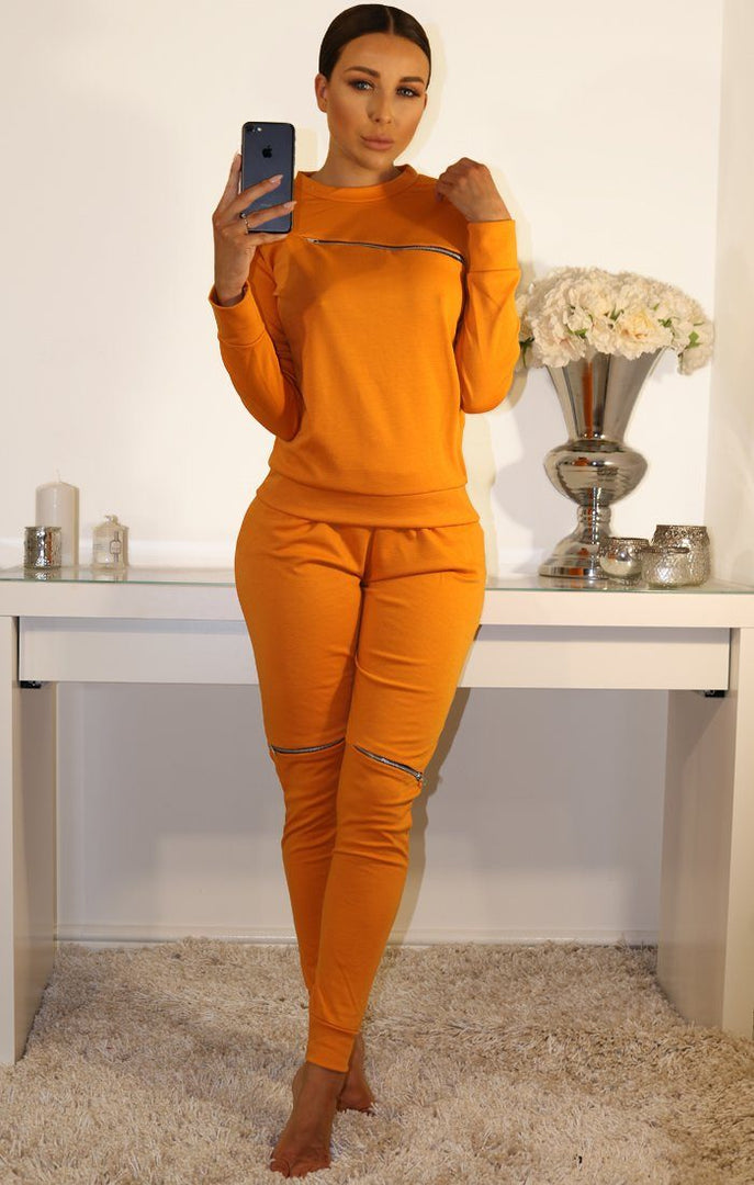 MUSTARD ZIP DETAIL LOUNGEWEAR SET