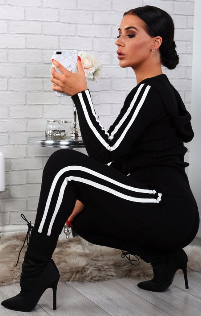 Black Stripe Detail Ribbed Loungewear Set - Phoebe