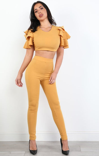 Mustard Ruffled Two Piece Co-ord Set - Susan