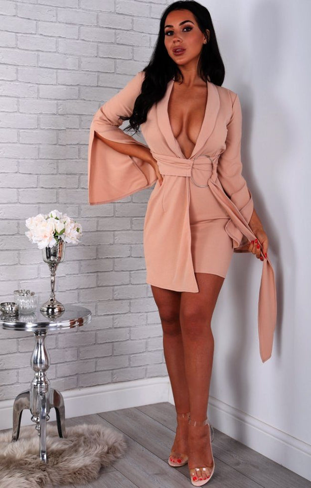 Nude-Split-Sleeve-Ring-Wrap-Blazer-Dress