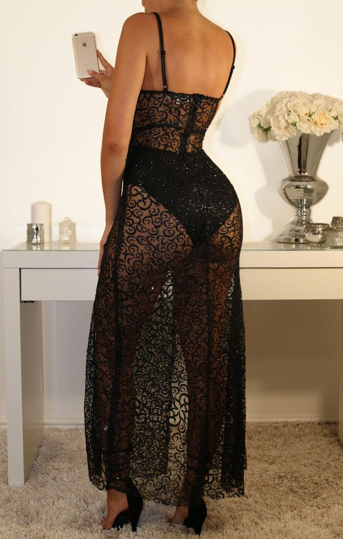 Black Mesh Glitter Side Split Maxi Dress