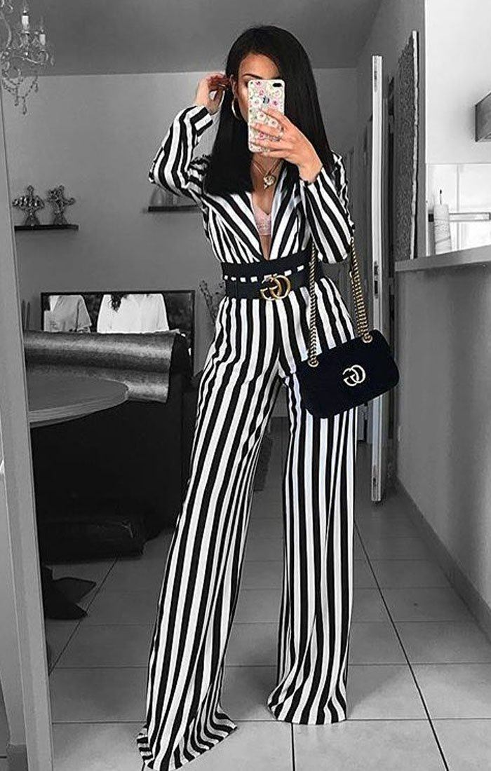 Black And White Stripe Plunge Collar Satin Bodysuit - Amie