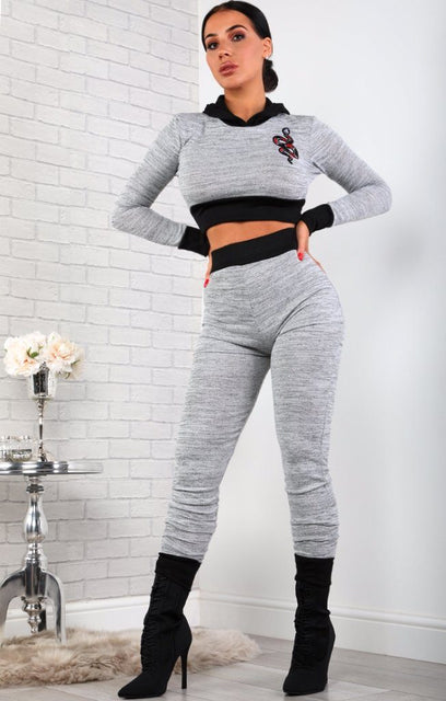 Grey Hooded Loungewear Set With Animal Snake Applique