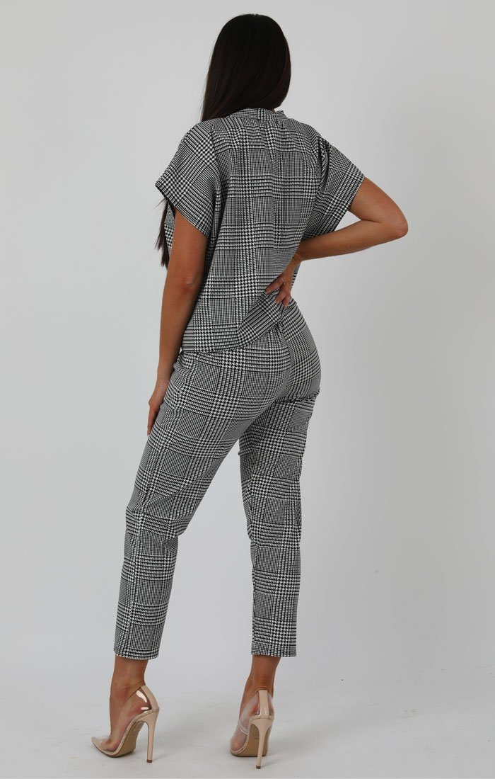 Houndstooth Short Sleeve Boxy Loungewear Set - Lacy