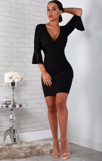 Black Bell Sleeve Bodycon Mini Dress