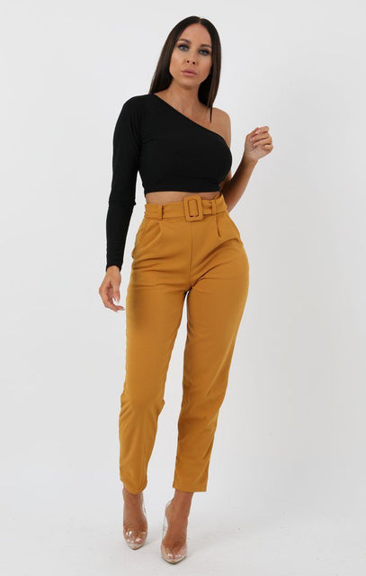Mustard Belted Tapered Cigarette Trousers - Molly