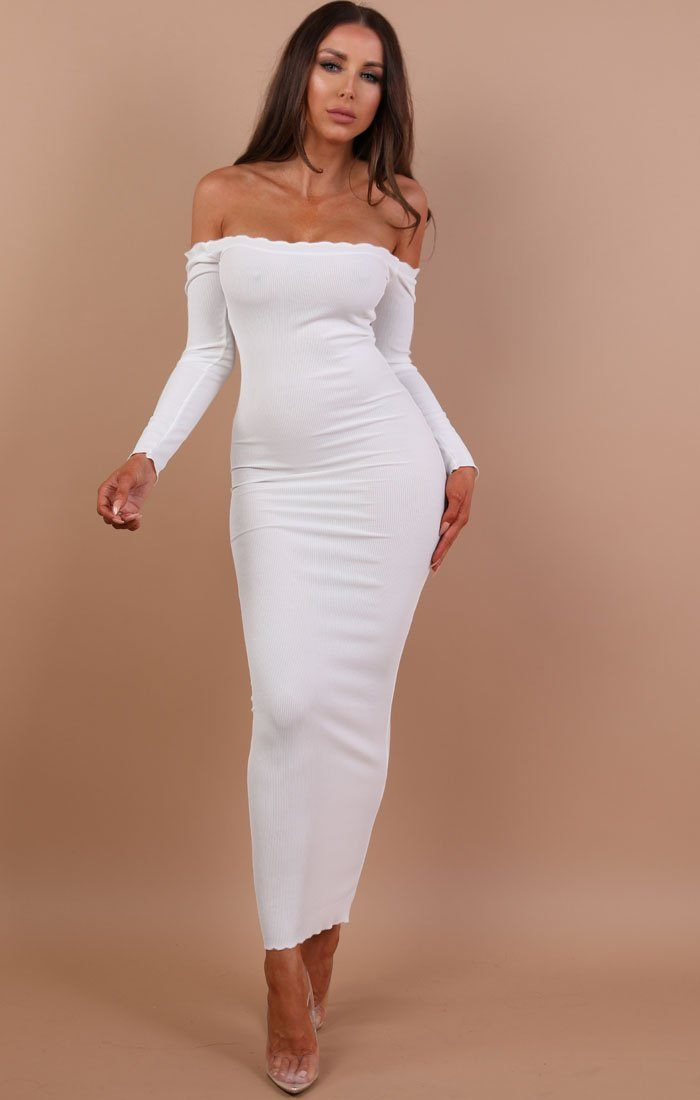White Frill Detail Maxi Dress - Jaycee