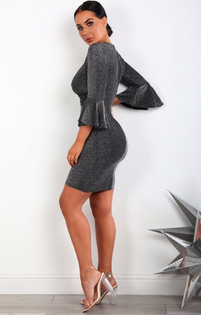 Grey Bell Sleeve Bodycon Mini Dress
