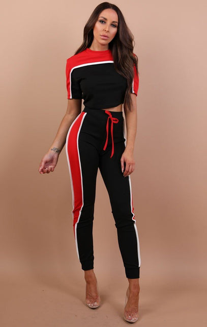 Red Stripe Loungewear Set – Sophia
