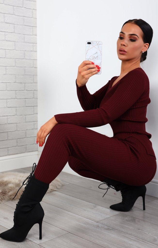Wine Ribbed Knitted Loungewear Set