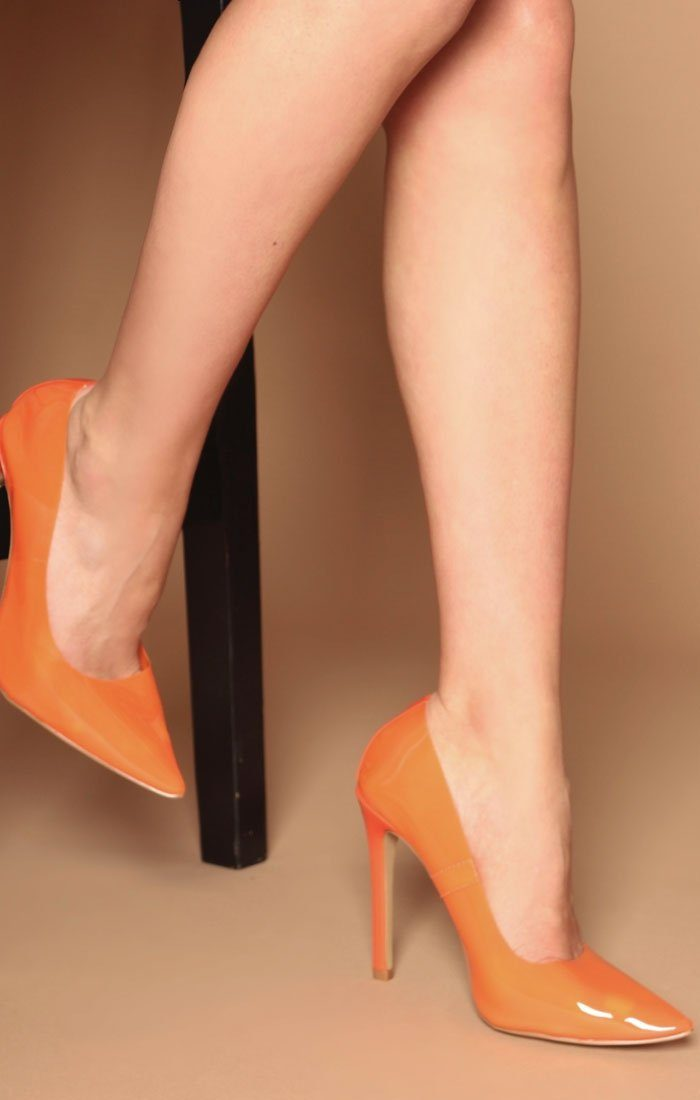 Orange Perspex stiletto heel – Alexis
