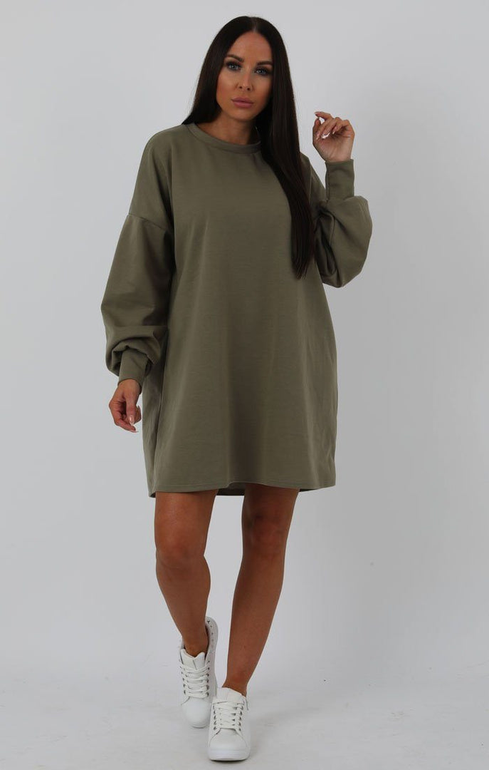 Khaki Oversized Sweater Dress - Ola