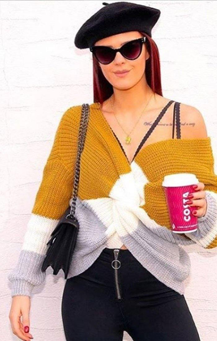Mustard Striped Front Wrap Knitted Jumper