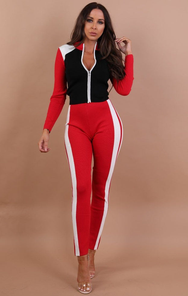 Red-and-black-premium-contrast-loungewear-set-Summer