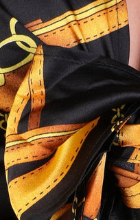 Black and Gold Scarf Print Tie Detail Crop Top